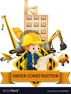 Engineer and building being under construction vector image on VectorStock Engineer Cartoon, Construction Wallpaper, Art Psychology, Science Classroom Decorations, Flashcards For Kids, Science Background, Science Illustration, School Clipart, Construction Birthday Parties