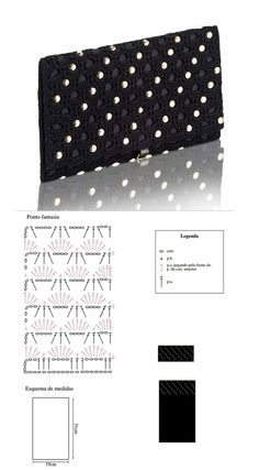 Patrones Crochet: Patron Crochet Bolso Mano de Noche