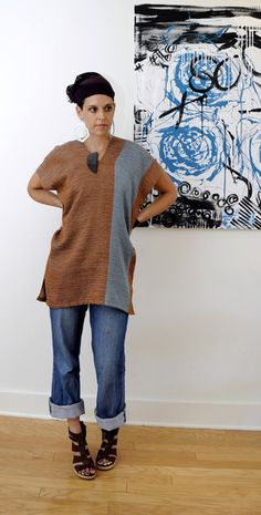 Click to purchase: Burnt Sienna and sky blue  handwoven tunic cotton top