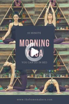 Wake up and energize naturally with these yoga postures. A ten minutes morning yoga flow you can do from the comforts of your own bed! #morningyoga Morning Yoga Stretches, Morning Yoga Flow, Morning Yoga Routine, Yoga For Weight Loss, Weight Lifting, 10 Minute Morning Yoga, Bed Yoga, Yoga Strap, Weight Loss Transformation