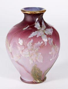 Burgun Schverer & Cie  Decorated Vase with Orchids 1895.