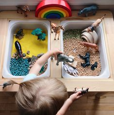18 Ways to Play With Your Ikea Flisat Table Toddler Sensory Bins, Montessori Toddler, Baby Sensory, Montessori Activities, Sensory Play, Art Activities For Toddlers, Infant Activities, Box Ikea, Sensory Table