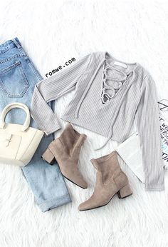 Vertical Striped Lace Up Crop T-shirt with ombre jeans and brown boots from romwe.com