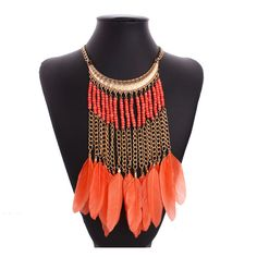 Feather-necklace-fashion-nigerian-beads-handmade-african-beads-tassel-feather-necklace-boho-chic-style-american-indian.jpg (800×800)