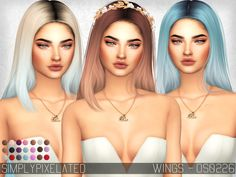 - 22 New Color Options (Solids + Ombres) Found in TSR Category 'Sims 4 Female Hairstyles'
