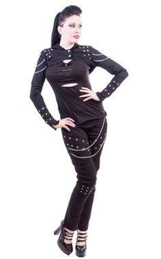 Necessary Evil Gothic Studded Sin Hooded Bolero - Large - Black