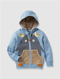 Budding Designers Boy's Penguin Hooded Sweatshirt Blue / penguin