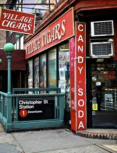 The famous Village Cigars shop in Greenwich Village, 7th Avenue & Christopher Street, NYC