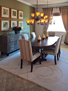 Furniture, Contemporary Dining Room With Unique Chandelier Design And Green Wall Color Ideas: Dining Room Sideboards To Make Your Dining Room More Appealing