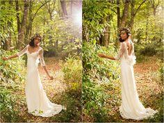 Robe de mariée Dorothée, shooting dans la forêt pour la collection 2015 Gwanni