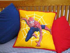 Spiderman Inspired pillow for boy's room.
