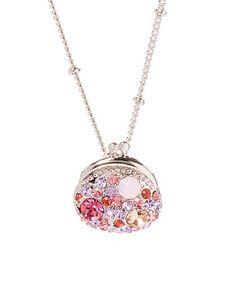 Pink Swarovski® Crystal & Silvertone Purse Pendant Necklace