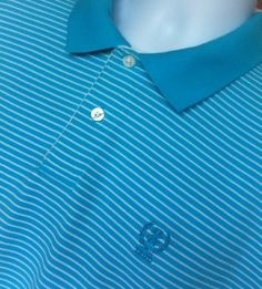 """#IZOD by LACOSTE MEN'S BLUE STRIPED 2XLARGE SHORT SLEEVE 100% COTTON GOLF CASUAL POLO SHIRT """"Nice shirt, great color, good condtion, shipped quickly"""""""