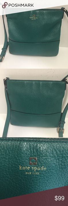 Kate spade Green pebbled leather crossbody bag This is a beautiful Kate spade green pebbled leather messenger Crossbody bag. It has zip top closure. Black and white striped lining. Gold tone hardware.  23 inch adjustable leather strap.  Excellent like new condition kate spade Bags Crossbody Bags