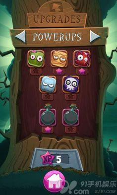 Cartoon Zombies Powerups and Upgrades Select screen Intarface