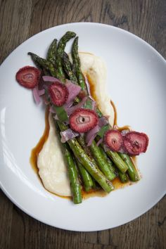 Grilled Asparagus - Brunkow cheddar | serrano ham | strawberries | pickled ramps