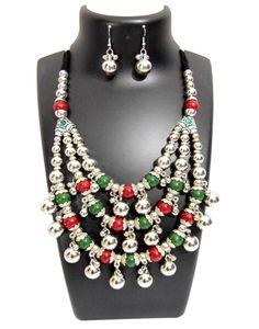 Oxidized Metal Navratri Jewellery Set - Triple Strand with Red&Green
