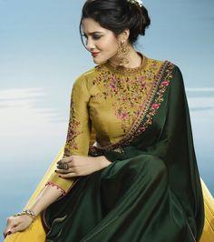 OMG Saree Blouse Choli, from Dark Green & Mustard Designer Embroidered Silk Party Wear Saree. Kurta Designs, Silk Saree Blouse Designs, Fancy Blouse Designs, Saree Blouse Patterns, Designer Blouse Patterns, Blouse Neck Designs, Lehenga Blouse, Saree Dress, Sari Bluse