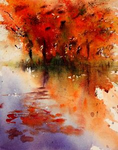 """Autumn Waters"" View from my studio window Very quick study! My life is very different at the moment. Usually I spend my da. Adult Art Classes, Fine Art Gallery, Contemporary Artists, Art Lessons, Watercolor Art, Colours, In This Moment, Life, Trees"