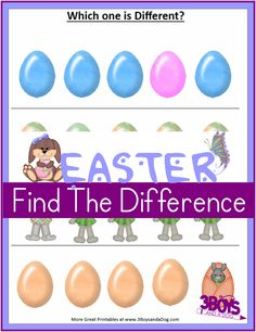 Printable Easter Worksheets:  Spot the Differences