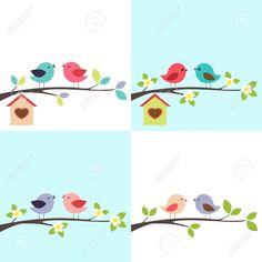 Couple of birds vector image on VectorStock Retro, Bird On Branch, Vector Background, Adobe Illustrator, Birds, Seasons, Embroidery, Couples, Illustration
