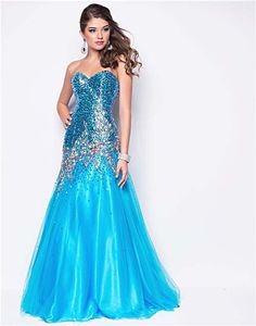 Turquoise Sequin & Tulle Strapless Drop Waist Prom Gown - Unique Vintage - Cocktail, Pinup, Holiday & Prom Dresses.