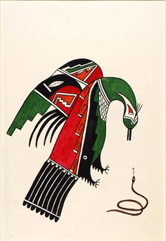 Bird with Black Snake  ca. 1920-1925 Awa Tsireh Born: San Ildefonso Pueblo, New Mexico Died: San Ildefonso Pueblo, New Mexico watercolor and ink on paperboard sheet: 11 1/4 x 7 1/4 in. (28.6 x 18.3 cm) Smithsonian American Art Museum