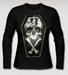 Lucky 13 Coffin Skull and Cross Bones Ladies Long Sleeve Shirt by Threads of the Dead