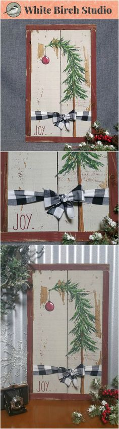 Dimensions are appx 23 inches tall by 14 inches wide  This unique piece is painted on old, tan fencing and is tied with a black and white plaid flannel bow. It is framed in strips of barn wood red reclaimed wood. It is a great personal touch to your mantel or entry for the holidays.