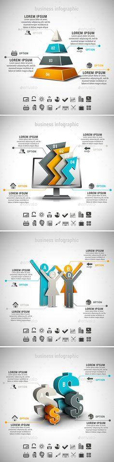4 in 1 Business Infographics Bundle Templates #design Download: http://graphicriver.net/item/4-in-1-business-infographics-bundle/10701137?ref=ksioks