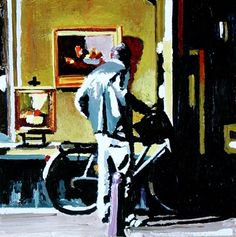 Gallery Window- Street Scene Painting Of Man Window Shopping For Art, painting by artist Gerard Boersma