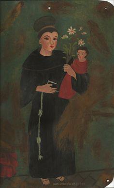 San Antonio de Padua.  Painting on tin by AFS. 2011