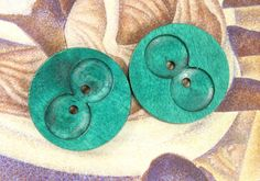 Wooden Buttons - Wide Holes design Green Wooden Buttons, 1.38 inch (6 in a set) on Etsy, $6.00