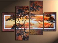 Santin Art -  100% Hand-painted Free Shipping Wood Framed Beautiful Woods Sun Tree High Q. Home Decoration Modern Landscape Oil Painting on Canvas 4pcs/set Mixorde