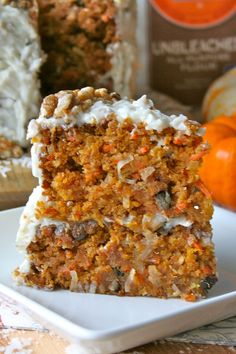 Pumpkin Carrot Cake _ You get the best of so many flavors in this incredibly moist & flavorful cake. There's pumpkin (I'm obsessed!), carrots, coconut, pineapple, & walnuts. It shouts fall & screams Thanksgiving!