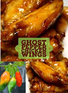 """We combine """"Ghost Pepper"""" with peach jelly and brown sugar to create a sauce that is hands down one of the most delicious wing recipes ever. Hot Wing Sauces, Chicken Wing Sauces, Chicken Wing Recipes, Chicken Wings, Chicken Chili, Fried Chicken, Pepper Jelly Recipes, Recipes With Chicken And Peppers, Chicken Stuffed Peppers"""