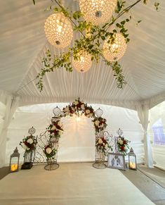 We did this whole ceremony set up inside one of our tents! www.a1wedding.com 903-463-7709 Equipment For Sale, Wedding Flowers, Chandelier, Thing 1, Ceiling Lights, Table Decorations, Bride, Party, Full Set