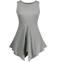 Handkerchief Hem Tunic Tank Top ($13) ❤ liked on Polyvore featuring tops, grey top, gray top, grey tank, handkerchief hem tops and gray tank top