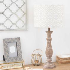DALIANE patinated-effect lamp with patterned beige shade | Maisons du Monde