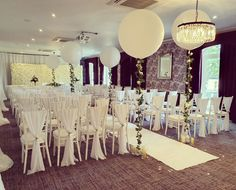 We finished the ceremony with white chair drapes, roses & sparkle silver ribbon. Wedding Chairs, Ceremony Decorations, Wedding Events, Ribbon, Roses, Chandelier, Sparkle, Ceiling Lights, Silver