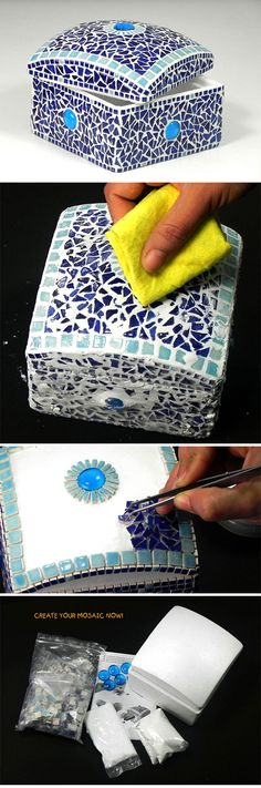 Mosaic Blue Treasure Chest - Mosaik Schatztruhe - Mosaique Coffret de Bijoux - Ceramic Mini Bits Tiles & Glass Nuggest - Kit Craft Alea Mosaik
