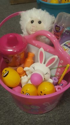 Baby easter basket idea for our 7 month old granddaughter comes baby easter basket idea for our 7 month old granddaughter comes with baby food easter books training toothpaste and toothbrush and woofi the m negle Gallery