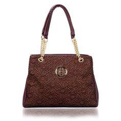 New Stylish Ladies PU Leather Lace Glitter Womens Grab Handbag Christm – Discount Clothing