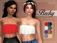 A comfy strapless loose crop top. I separated the top from my Beach Dress so now you can wear it with any bottoms. It comes in the 12 original colours. Found in TSR Category 'Sims 4 Female. Sims 4 Teen, Sims Four, Sims 4 Mm, Sims 4 Mods Clothes, Sims 4 Clothing, Gypsy Clothing, Maxis, Cc Top, Pelo Sims