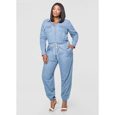 f818139790e1 Ashley Stewart Denim Mechanics Jumpsuit ( 60) ❤ liked on Polyvore featuring  jumpsuits