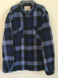 Weatherproof Men's Heavy Polyester Flannel Shirt - Size XL - Blue Plaid Design #Weatherproof #ButtonFront