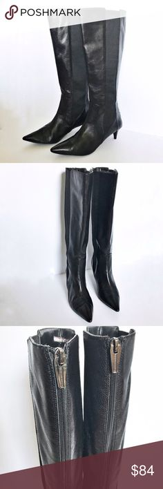 Adrienne Vittadini Tall Black Leather Boots Adrienne Vittadini, tall, black, leather, pointed toe, kitten heel approximately 2 1/4in, side stretch panels for perfect fit, zipper closure in back, boots. Very versatile and classic Boots. Height approximately 15 1/2in and circumference approximately 16in. Adrienne Vittadini Shoes Heeled Boots