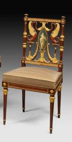 Georges Jacob Directoire chairs, in mahogany, carved and gilt wood, c. 1795