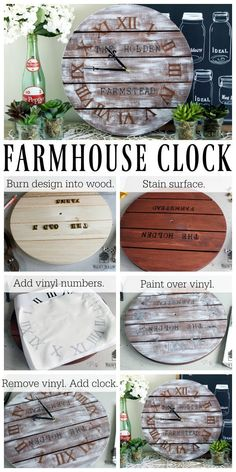 I love everything farmhouse style and wanted to create my own personalized farmhouse clock. With just a few supplies, I was able to create a gorgeous farmhouse style clock for my home. The HotSta… Farmhouse Clocks, Rustic Wall Clocks, Wood Clocks, Rustic Walls, Farmhouse Style Decorating, Rustic Farmhouse Decor, Diy Clock, Clock Ideas, Wood Projects