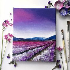 Field Acrylic Painting Art Print Purple Flower Field, Purple Sunset Sky Acrylic painting art print of a purple lavender field under a colorful sky. Print is size painting art print of a purple lavender field under a colorful sky. Print is size Purple Sunset, Sunset Sky, Sunset Beach, Purple Haze, Simple Acrylic Paintings, Art Paintings, Portrait Paintings, Abstract Portrait, Pictures Of Paintings